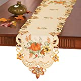 Collections Etc Fall Embroidered Pumpkin And Leaves Table Linens, Runner