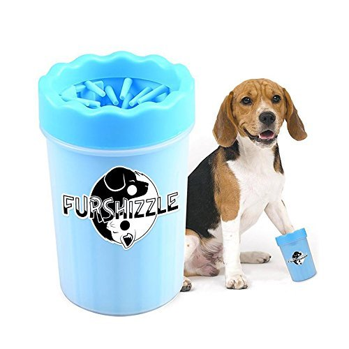 FurShizzle Paw Cleaner Portable Paw Washer Cup With Soft Gentle Silicone Bristles, Cleans, Grooms & Removes Dirt, Mud, Sand, Ice Melt, Other Harmful Bacteria Off Cat & Dog Paw's (Medium, Blue) - Husky Paw Print