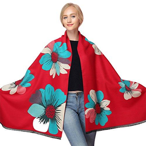 Rouge Ponchos Echarpe Chale Fleurs Tricot Chaud Large Femme Capes GWELL Manteau wxIvqZZ