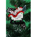 Personalized Christmas Tree Decoration Ornaments Sleigh Family - For the family of 4 members- Get your desired names on the items- A perfect Christmas gift by Frame Company