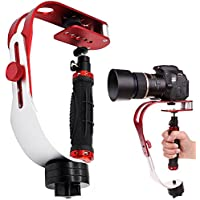 AFUNTA Pro Handheld video Camera Stabilizer Steady, Perfect for GoPro, Cannon, Nikon or any DSLR camera up to 2.1 lbs With Smooth Pro Steady Glide Cam - Red + Silver + Black