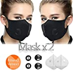 CFORWARD Dustproof Mask, Activated Carbon Face Mask Washable Anti-Fog Mouth mask Anti Pollen Allergy PM2.5 Mask with Extra Filter and Valves