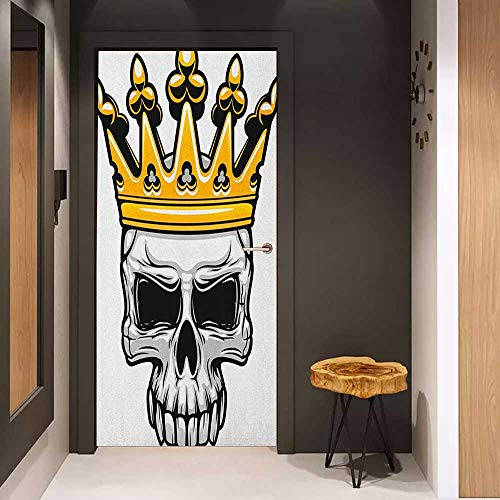 Onefzc Door Sticker Mural King Hand Drawn Crowned Skull Cranium with Coronet Tiara Halloween Themed Image WallStickers W17.1 x H78.7 Golden and Pale Grey -