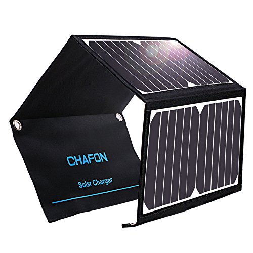 CHAFON Solar Charger 22W Foldable Solar Panel with Dual USB Ports Waterproof for iPhone, Tablets, Smartphones and Outdoor Backpacking Camping by CHAFON