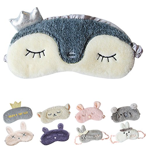 Cute Sleeping Eye Mask Plush Blindfold Travel Sleep Masks Super Soft Eye Cover for Kids Girls and Adult (A-Penguin),Pack of 1
