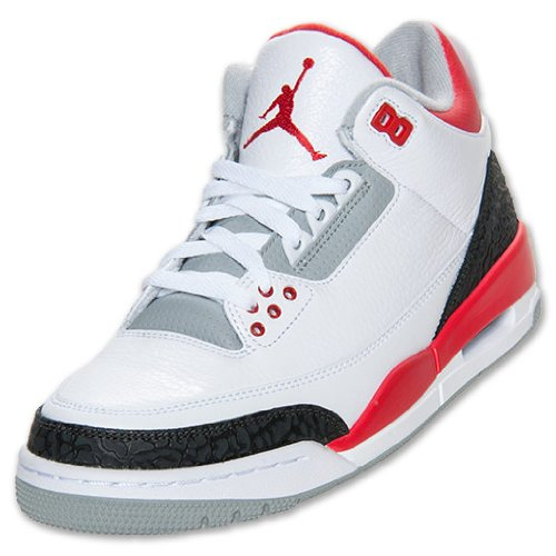 Nike Mens Air Jordan 3 Retro White/Fire Red-Silver-Black Leather Basketball Shoes Size 10