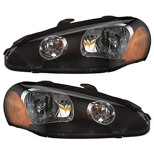 Pair Set Halogen Combination Headlights Headlamps Replacement for 03-05 Dodge Stratus Coupe MN133279 MN133280