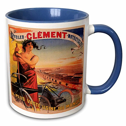 3dRose BLN Vintage Bicycle Advertising Posters - Vintage Clement Cycles Motorcycles French Advertising Poster - 15oz Two-Tone Blue Mug (mug_149761_11)