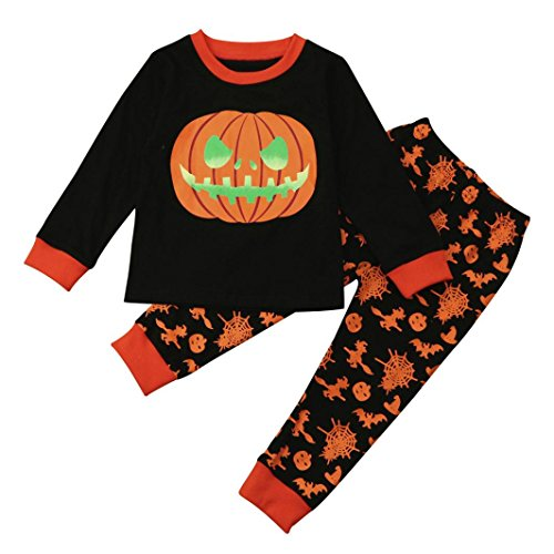 Halloween Baby Girl/Boy Clothes, Leewa@ 2PCS Toddler Infant Daily Pumpkin Tops+Pants Outfits (6T, Black)