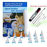 Ear Wax Cleaner Upgraded 16 Disposable Silicone Replacement Heads, Ear Pick Spiral Improves the Effect of Ear Wax Removal Drop + Bonus 5pcs Ear pick tool