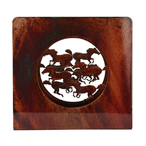 Chevelon Goods Decorative Luncheon and Dinner Napkin Holder w/Rustic Patina Finish - Horses