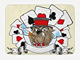 Lunarable Poker Tournament Bath Mat, Cartoon Style Bulldog with Playing Cards Ribbon Rich Winner Image Print, Plush Bathroom Decor Mat with Non Slip Backing, 29.5 W X 17.5 W Inches, Multicolor