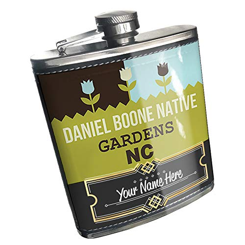 Neonblond Flask US Gardens Daniel Boone Native Gardens - NC Custom Name Stainless Steel (Best Hikes In Boone Nc)