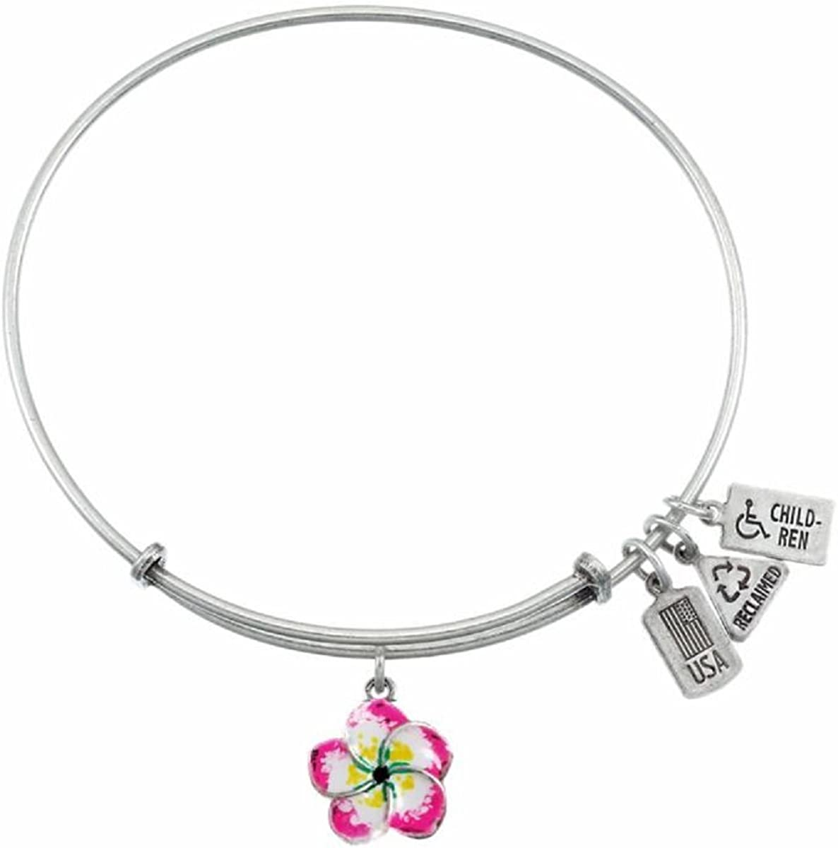 Wind and Fire 3-d Hand Painted Plumeria Silver Medal Charm with Bangle WF628