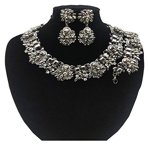 NABROJ Black Statement Necklace Bracelet Earrings for Women Novelty Jewelry Set Formal Party Wedding with Gift Box- HLN001 Black 3pcs Set