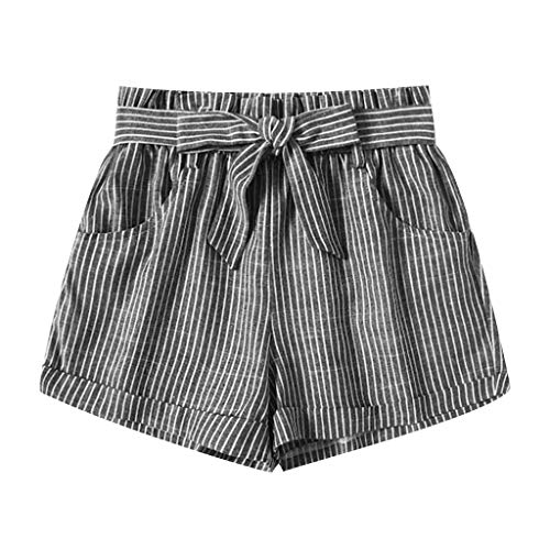 Satin Oasis Striped - Jumaocio Shorts Women Cotton and Linen Shorts Pants Bow Casual Beach Shorts High Waisted Self Striped Summer Shorts Gray