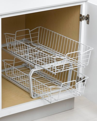 White Sliding Pull Out Wire Under Cabinet Pantry Kitchen: ClosetMaid 3608 11-Inch Wide Two-Tier Cabinet Organizer