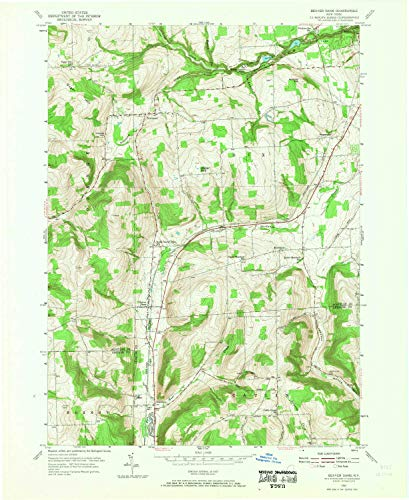 (YellowMaps Beaver Dams NY topo map, 1:24000 Scale, 7.5 X 7.5 Minute, Historical, 1953, Updated 1955, 27 x 22 in - Polypropylene)