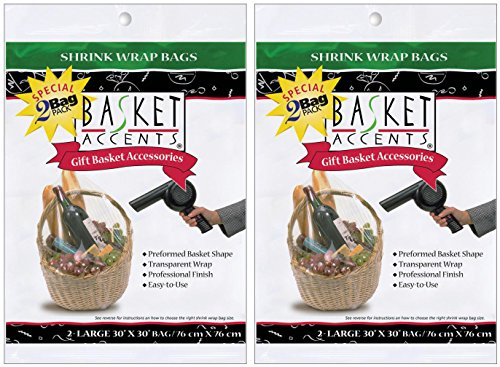 2-Pack - Photo Frog Basket Accents 30 by 30-Inch Shrink Wrap Bags, Large, Clear, 2 bags per pack