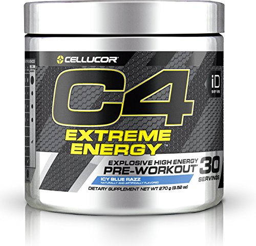 Cellucor C4 Extreme Energy Pre Workout Powder, Explosive High Energy Drink, Icy Blue Razz, 30 Servings
