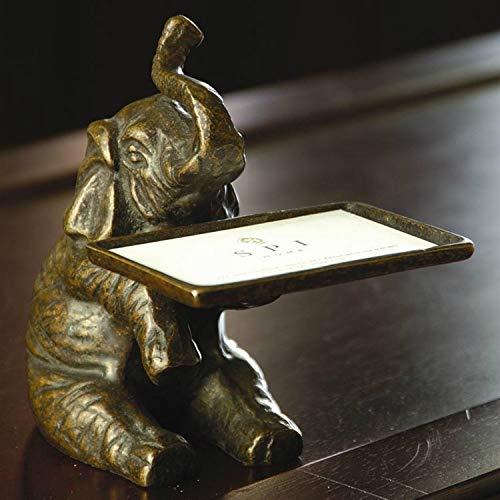 Figurine Elephant Business Card Holder Office Decorative Made of Brass Metal