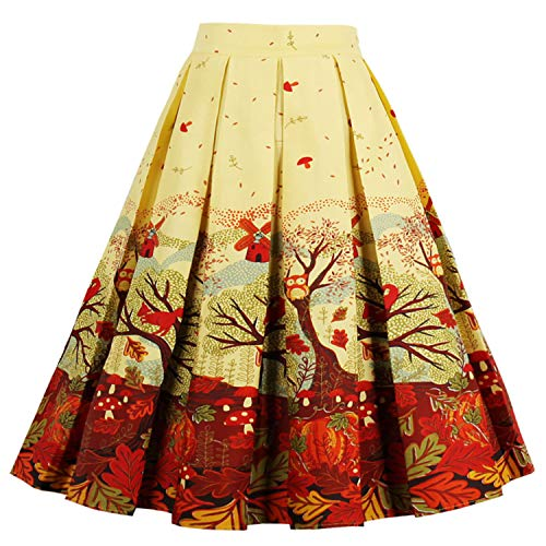 T-Crossworld Women's Vintage Flared High Waist A Line Pleated Midi Skirt with Pockets Fall Leaves 2XLarge