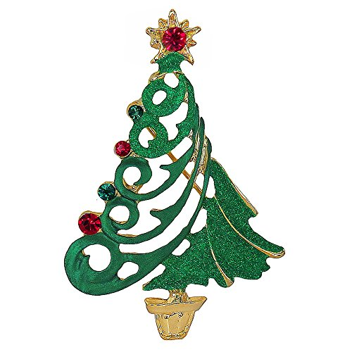 Christmas Brooch Tree Swarovski (RUCINNI Christmas Tree Brooch, Imitation Rhodium Plated & Swarovski Crystals)