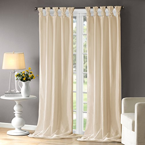Madison Park Emilia Room-Darkening Curtain DIY Twist Tab Window Panel Black Out Drapes for Bedroom and Dorm, 50x108, Champagne (108 Drapery Inch Panels)
