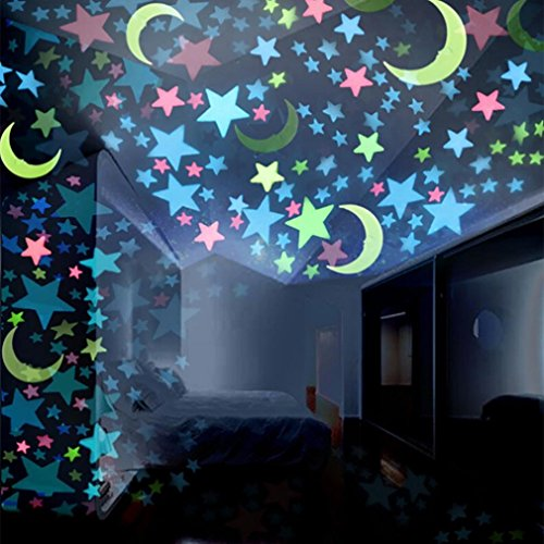 Unpara 100Pcs Fluorescent Wall Decals Stickers Glowing Moon Star Murals for Room Home Removable Wall Art Decals Wall for Kids Rooms DIY Home Decoration -