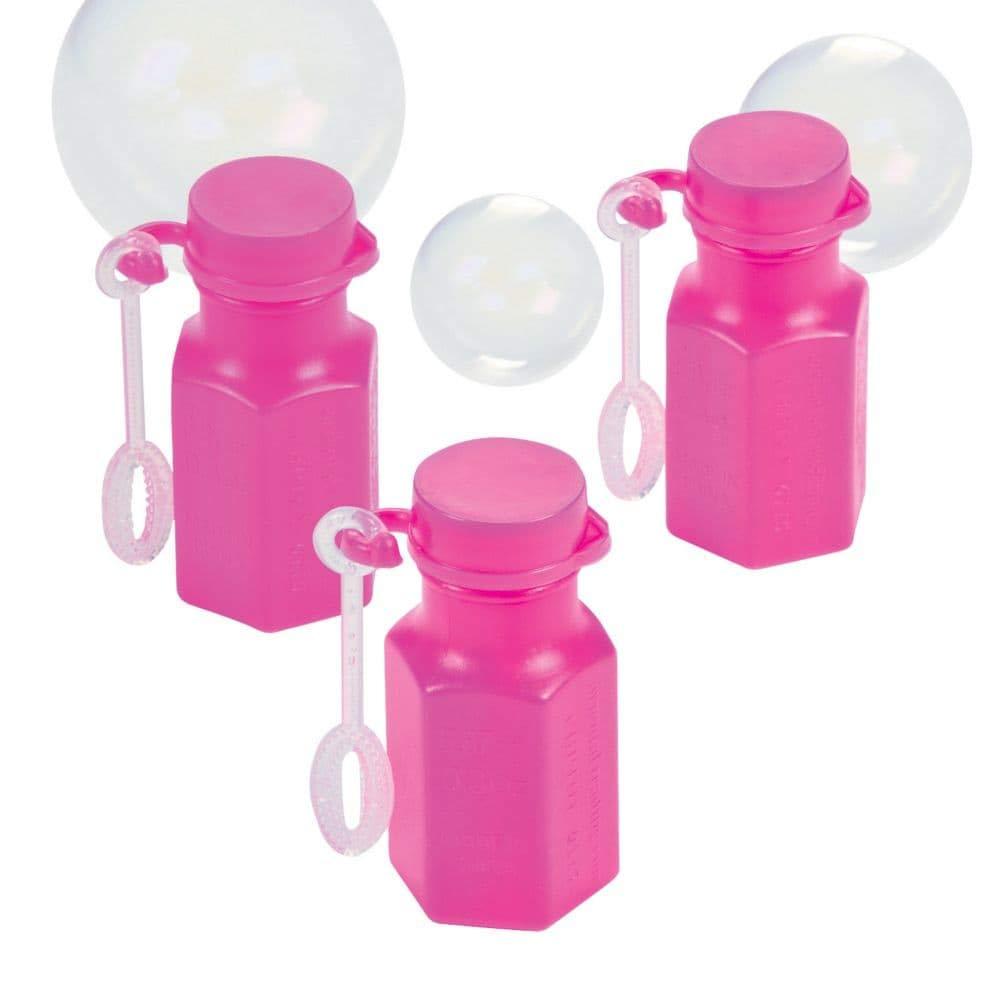 Neon rosado hexagon bubble bottles 0.3oz (4 dozen) - bulk