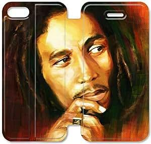 Funda de cuero del caso del tirón del cuero del teléfono funda B9Y03O7 Bob Marley G8F71L7 iPhone 5C fundas de plástico de moda
