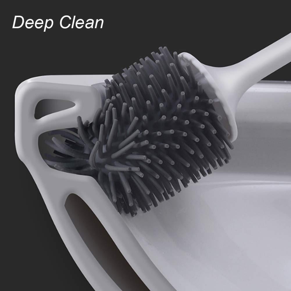 Skroad Escobilla de ba/ño y Soporte Cepillo de Silicona Suave con Guantes de Lavado Impermeables