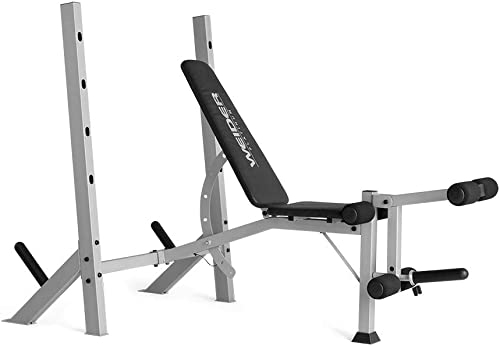 side facing weider platinum olympic bench & rack
