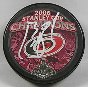 Cam Ward Signed Carolina Hurricanes Stanley Cup Champion Hockey Puck 1006598