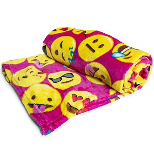 Emoji Faces Fuschia Round Velvet Throw Blanket Kids Plush Soft Toy Toddlers Teens Emojies Expressions WILL Vary 50″ x 60″