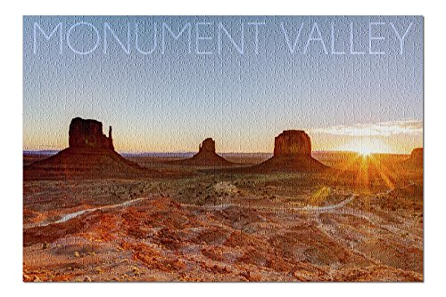 Monument Valley, Utah - Three Peeks and Sun (20x30 Premium 1000 Piece Jigsaw Puzzle, Made in USA!) - Monument Valley Usa Framed
