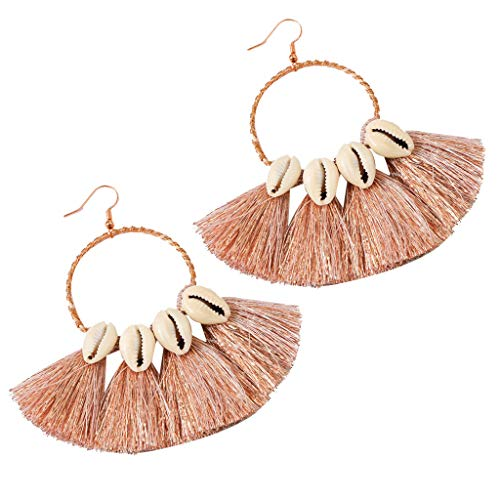 Women Ladies Retro Bohemian Earrings Fringe Tassel Statement Earrings Beach Party Drop Hoop Earrings Jewelry (Rose Gold)
