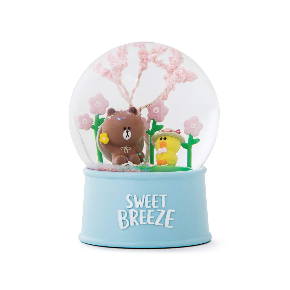 LINE FRIENDS Snow Water Globe - Brown and Sally Character Cute Home Décor, Light Blue