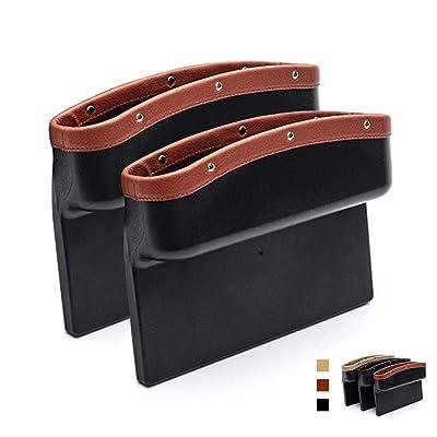 AUTOFAN PU Leather Car Pockets Organizer, Car Seat Gap Filler and Catcher Organizer (brown-2pcs): Automotive