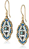 Miguel Ases Small Swarovski Center Oval Ruffle Contrast Drop Earrings, Egyptian Blue