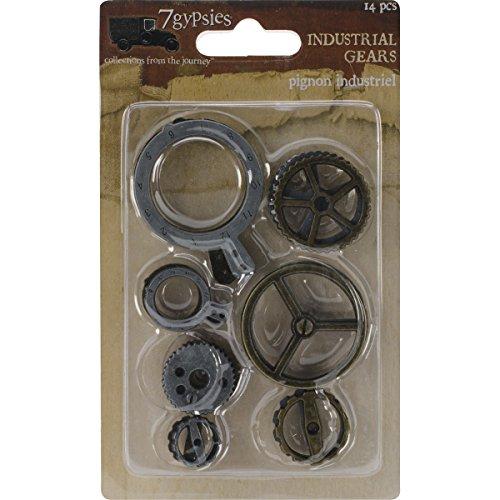 (7 Gypsies 7G12595 Gear Metal Charm, 0.5-Inch x 0.5-Inch to 1.75-Inch x 1.25-Inch, 14-Pack)