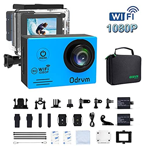 WIFI Action Camera Waterproof Cameras - HD 1080P Underwater Camera Diving 98FT Camcorder With 19PCS Accessories for Kids, Snorkeling, Motorcycle, Bike, Helmet, Car, Ski and Water - 32 Class Lcd