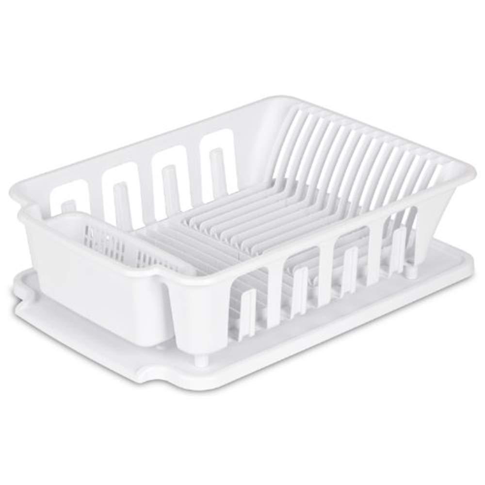 "Sterilite 2-piece Large Sink Set Dish Rack Drainer, White (18 3/4"" L x 13 3/4"" W x 5 1/2"" H)"