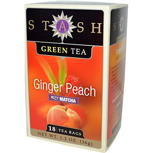 Stash Tea Company, Premium, Ginger Peach Green Tea with Matcha, 18 Tea Bags, 1.2 oz (36 g) - 2pcs (Ginger Peach Green Tea)