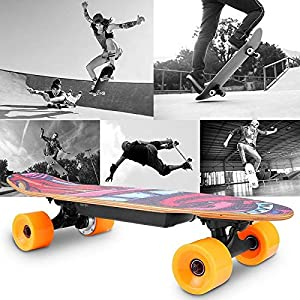 WESOKY Planche à roulettes électrique Skateboard électrique avec télécommande Radio -20 km/h Skateboard électrique Planche à roulettes électrique pour Adultes et Adolescents