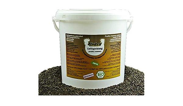 hubey - Fertilizante orgánico para Aves de Corral - 6 kg de Cubo - para el Cuidado de Pollos - Mezcla de Aves de Corral - Fertilizante orgánico Natural - Abono Universal: Amazon.es: Jardín