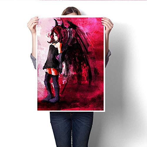 Anshesix Wall Paintings Digital Painting of Cute Girl in Devil Costume Modern Wall Art for Living Room Decoration 20