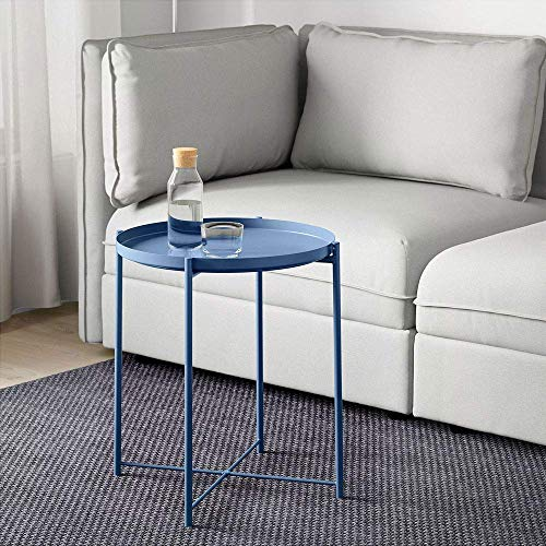 Round Metal Side Table - 20'' Tall Reversible Tray Small End Table, Modern Steel Patio/Garden/Sofa/Bed/Nesting/Accent Coffee Tables Nightstand for Living Room Bedroom Decor Indoor Outdoor (Blue)