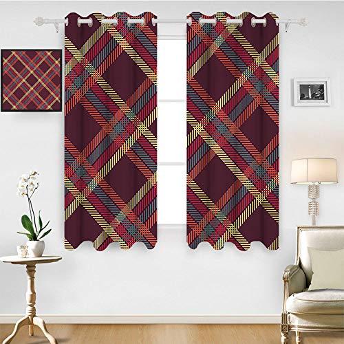 SATVSHOP Window Curtain babric - 55W x 45L Inch-Drapes for Living Room.Retro Geometric Diagonal Tartan Plain Checked Pattern Traditional British Striped Dign