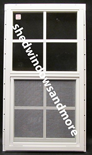 Shed Window with Blue Shutters 14 X 27 White J-Channel Safety Glass Playhouse Window by Shed Windows and More (Image #3)